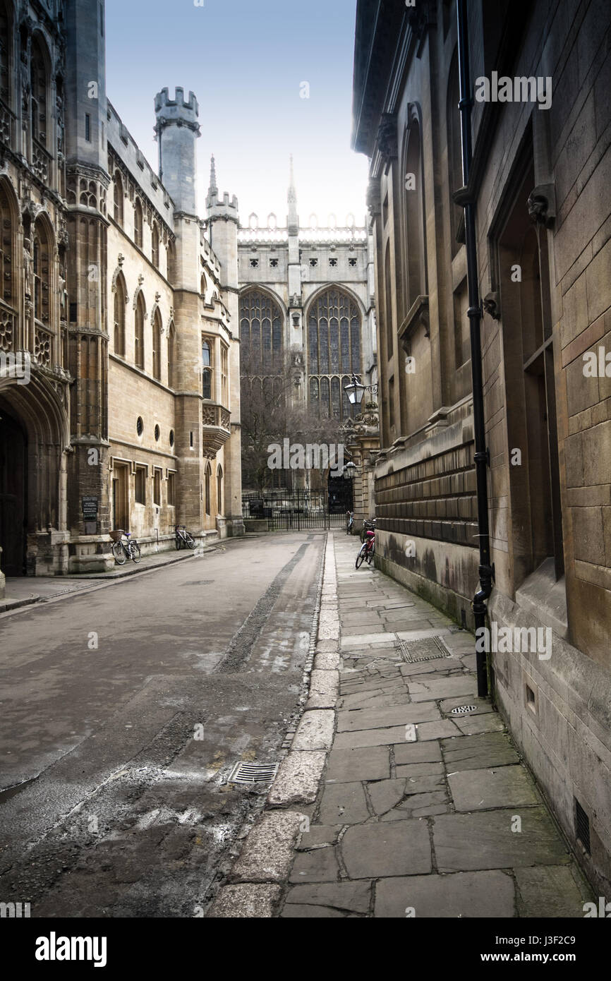 Trinity Lane leads to Trinity and Clare colleges - Stock Image
