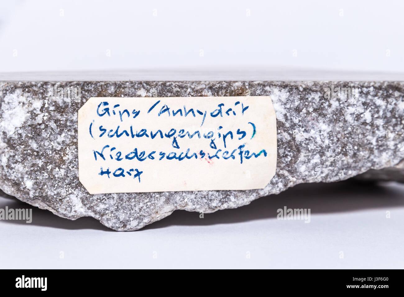 Grey and white gemstone gem jewel mineral precious stone caption 3 - Stock Image