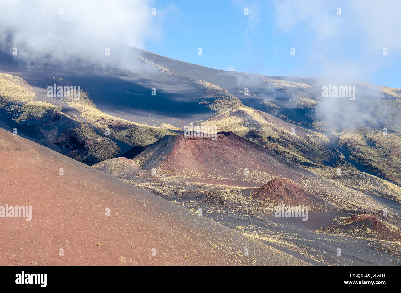 Southern flank of Mount Etna, an active stratovolcano on the east coast of Sicily, Italy, showing lateral crater. - Stock Image