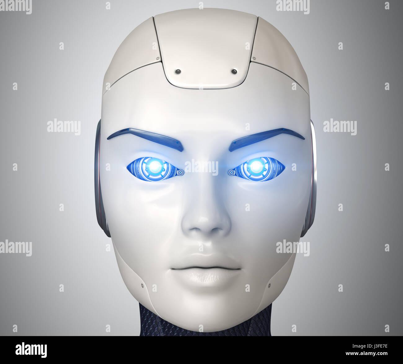 Robot's head close up,3D illustration Stock Photo