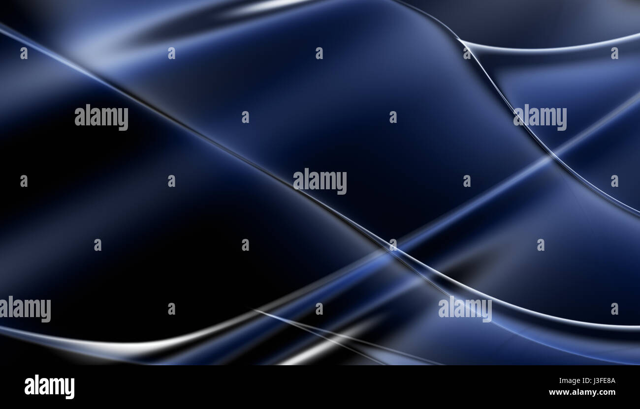 Blue abstract waving lines background - Stock Image