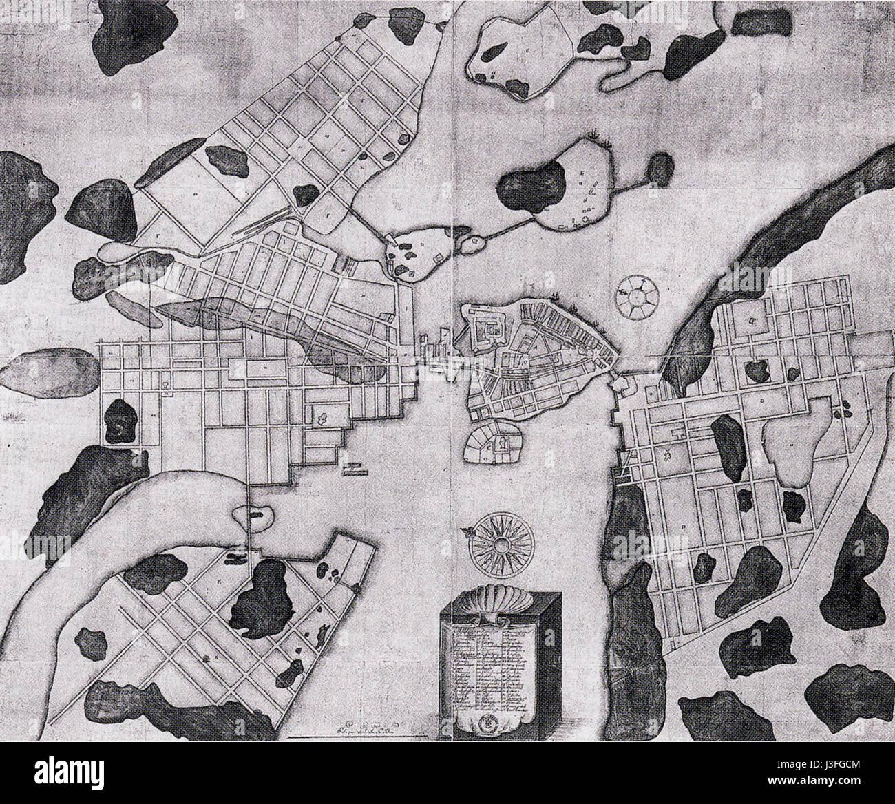 Flemings karta 1600 - Stock Image