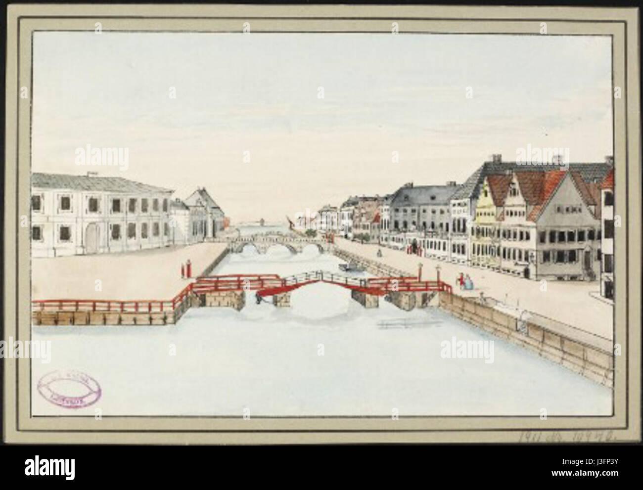 Frederiksholms Kanal old drawing - Stock Image