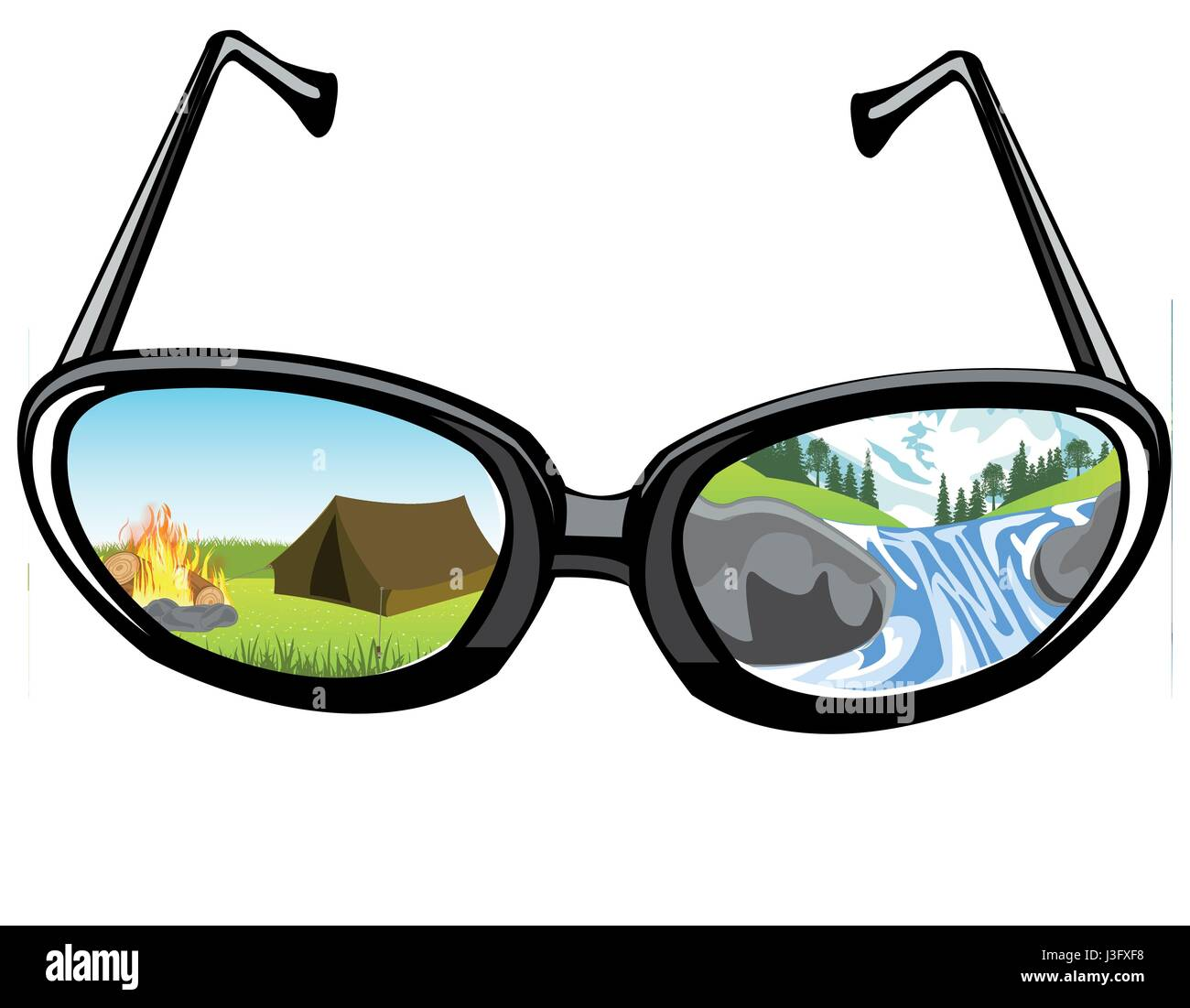 Spectacles and reflection of the nature - Stock Vector