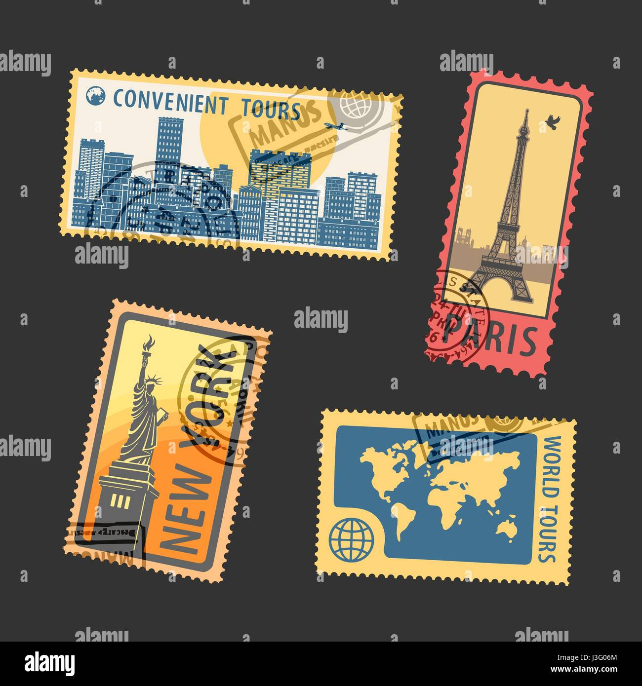 Set of Postage Stamps Vector Illustration - Stock Vector