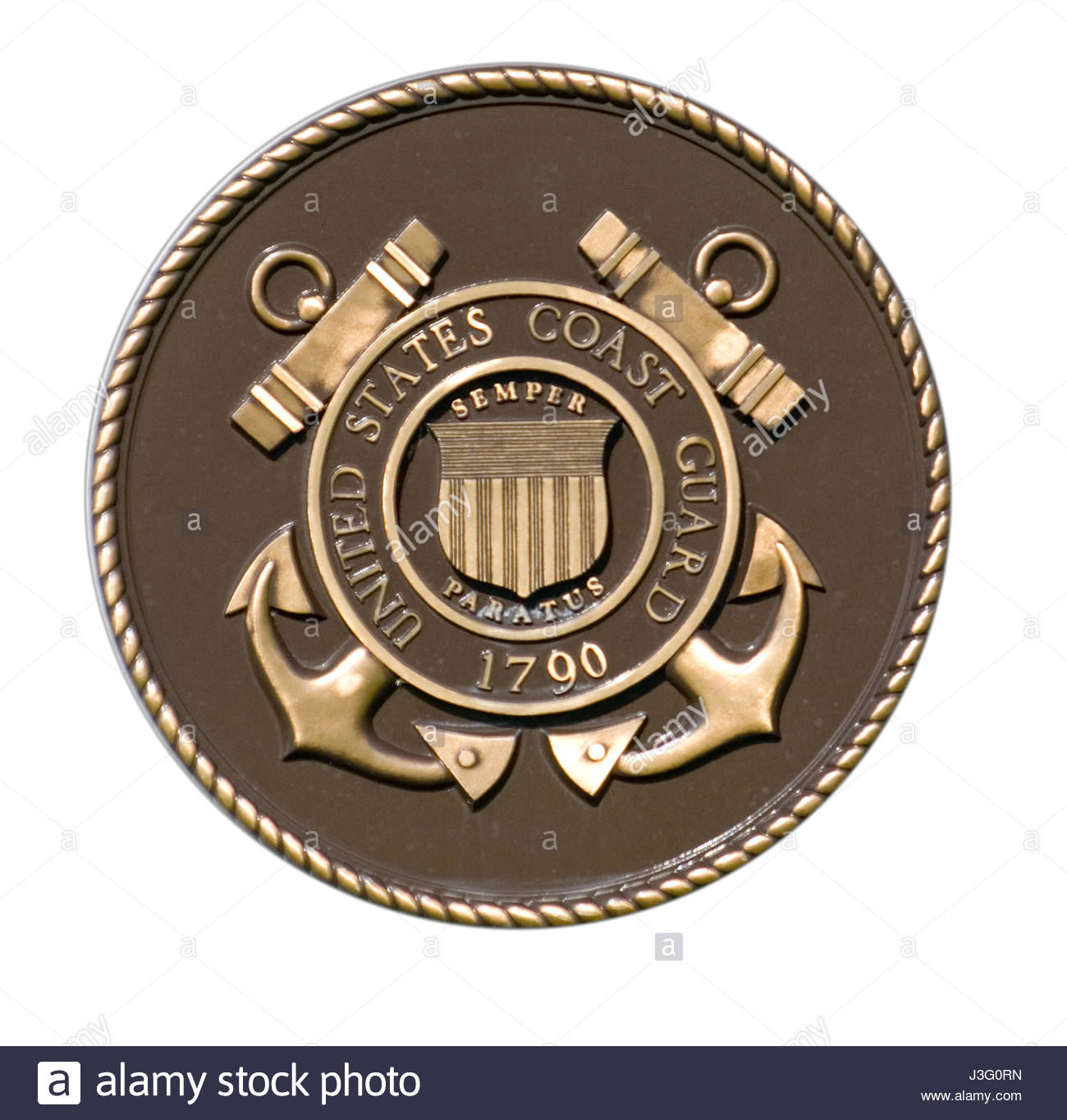 The seal of the United States Coast Guard. National Memorial Cemetery of the Pacific at Punchbowl, Honolulu, Oahu, - Stock Image
