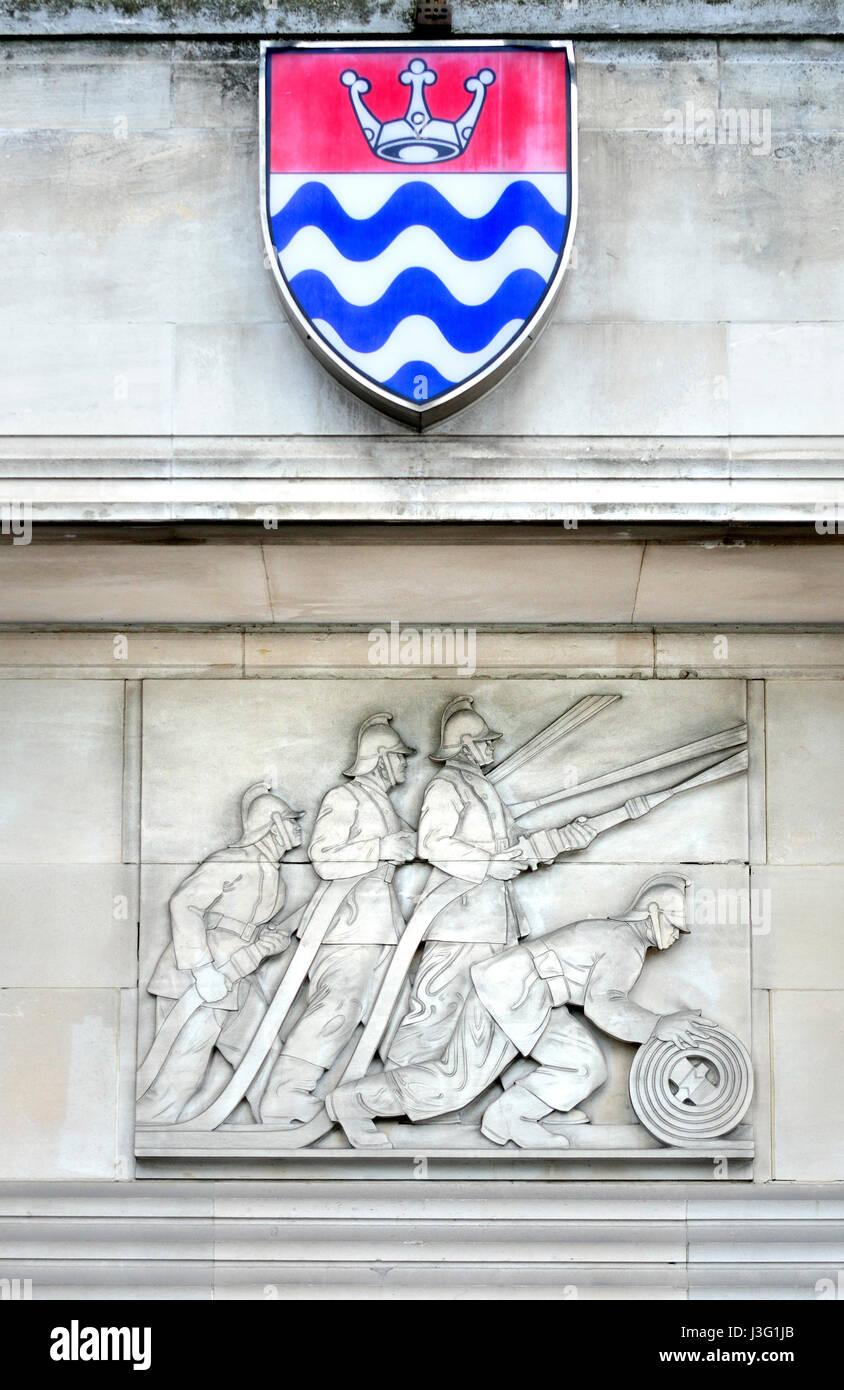 London, England, UK. Lambeth Fire Station, 8, Lambeth Embankment (Formerly London Fire Brigade Headquarters. Grade - Stock Image