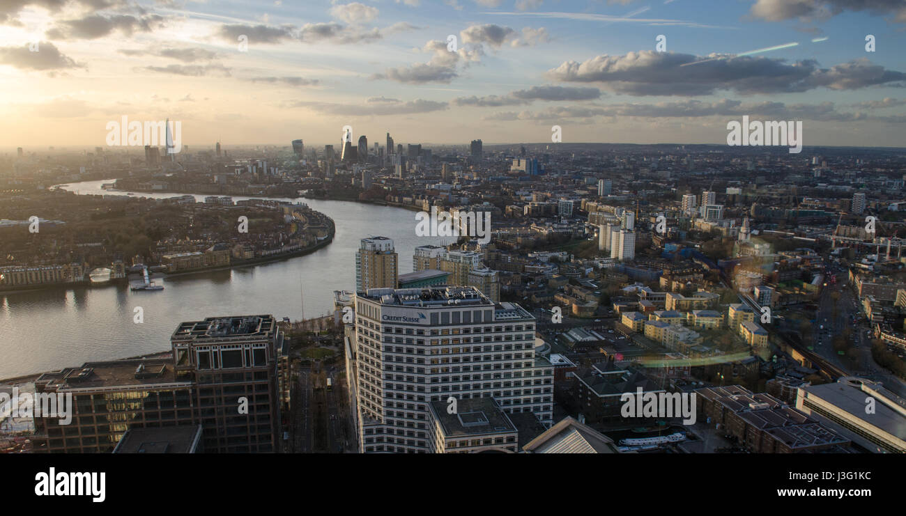 Looking west over the city of London from Canary Wharf in the Docklands district. - Stock Image