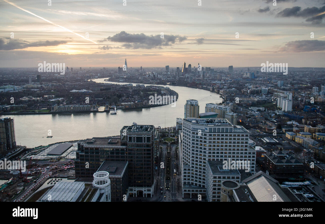 London, England, February 27, 2015: The River Thames meanders through the cityscape of East London as seen from Stock Photo