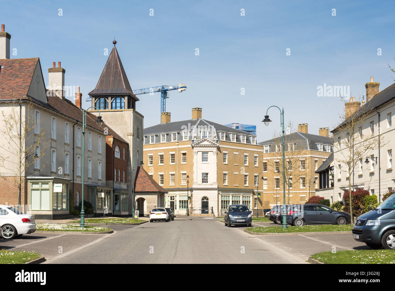 Dorchester, England, UK - May 7, 2016 - Completed streets of new houses and apartment buildings in Poundbury, Prince Stock Photo