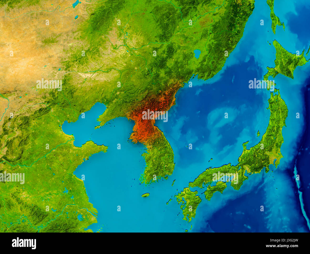 North Korea Highlighted In Red On Physical Map. 3D Illustration. Elements  Of This Image Furnished By NASA.