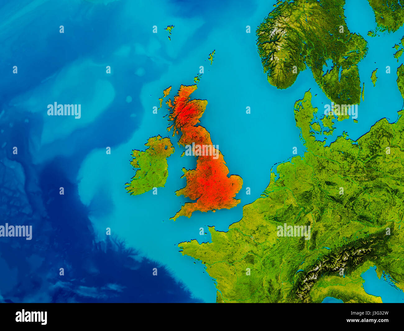 Picture of: United Kingdom Highlighted In Red On Physical Map 3d Illustration Stock Photo Alamy