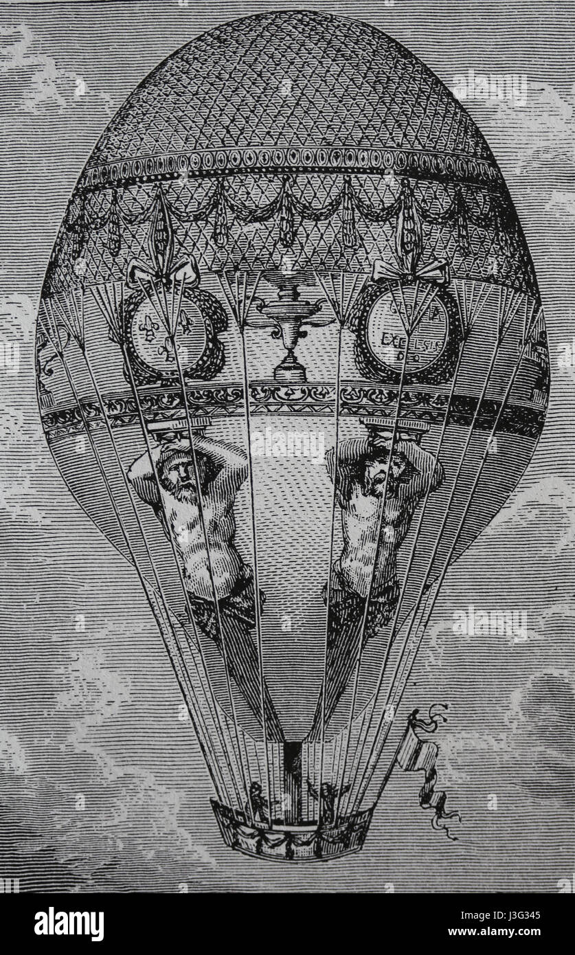 Transport. 18th century. Hot-air balloon flight. Engraving, 19th century. - Stock Image