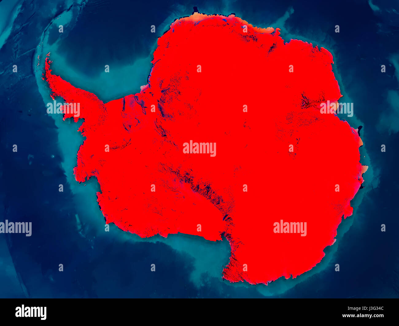 Antarctica highlighted in red on physical map. 3D ...
