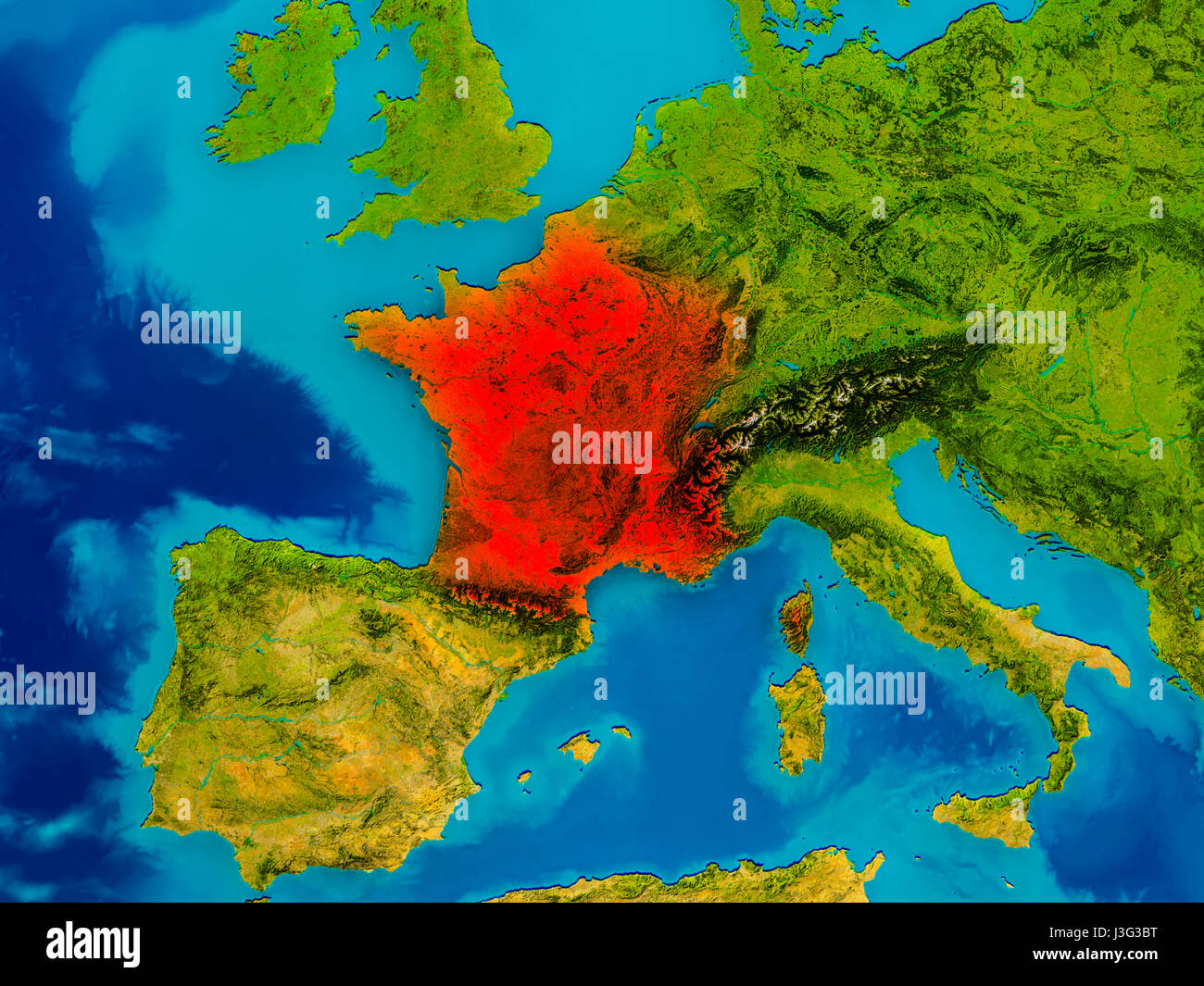 France highlighted in red on physical map. 3D illustration ...