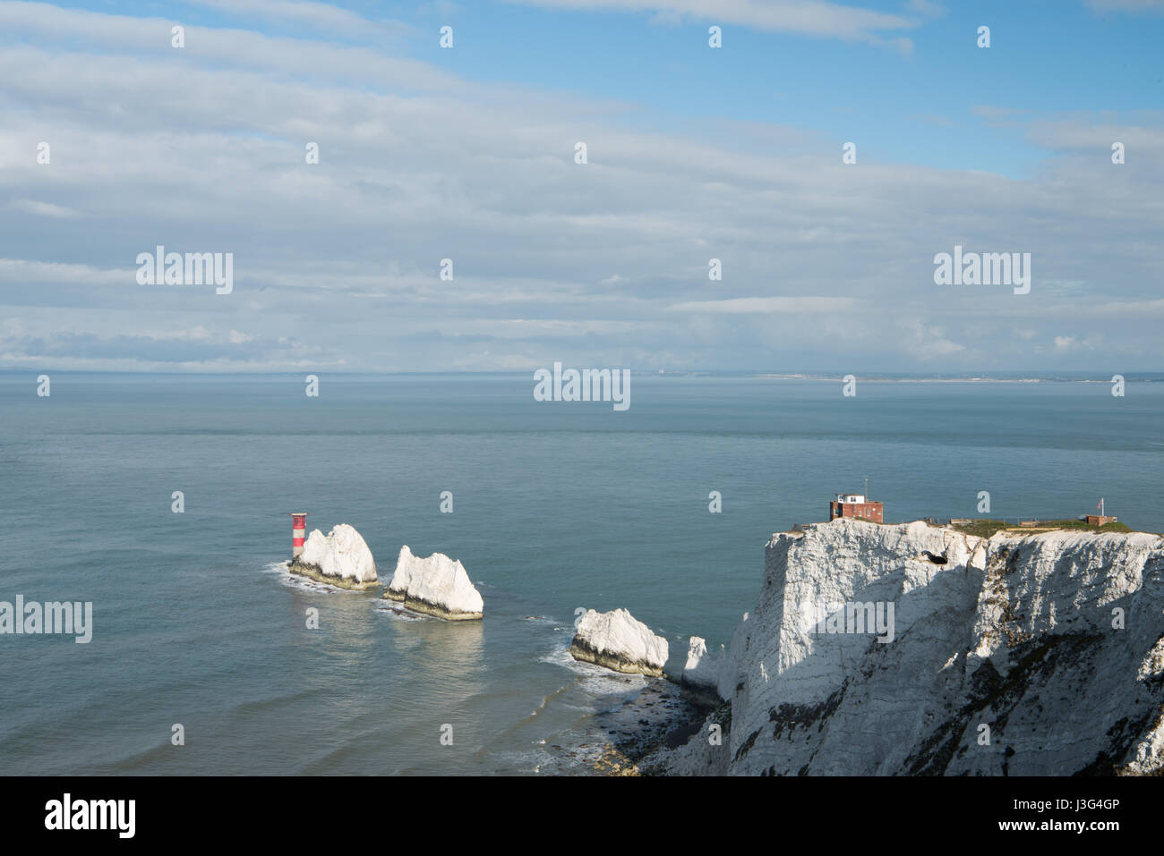 The Needles Lighthouse and Rocks, Isle of Wight. - Stock Image