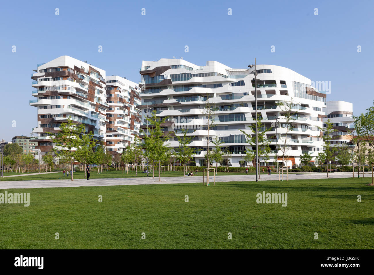 Zaha Hadid Residences at Citylife, a residential and business district completed in 2014. Milan, Italy. - Stock Image