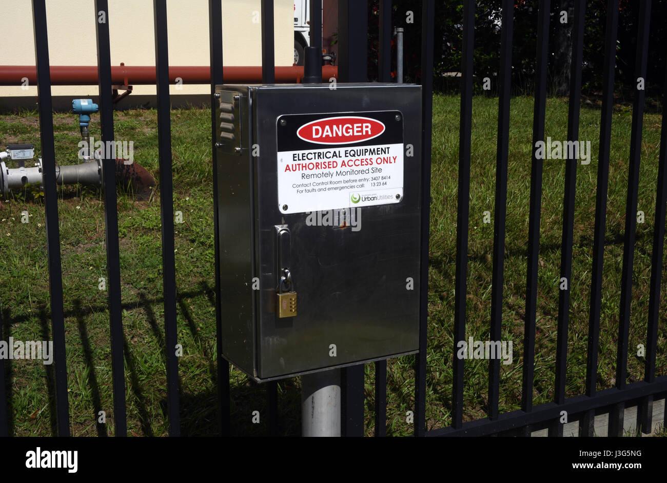 Brisbane, Australia: Urban Utilities electrical distribution box at Virginia - Stock Image