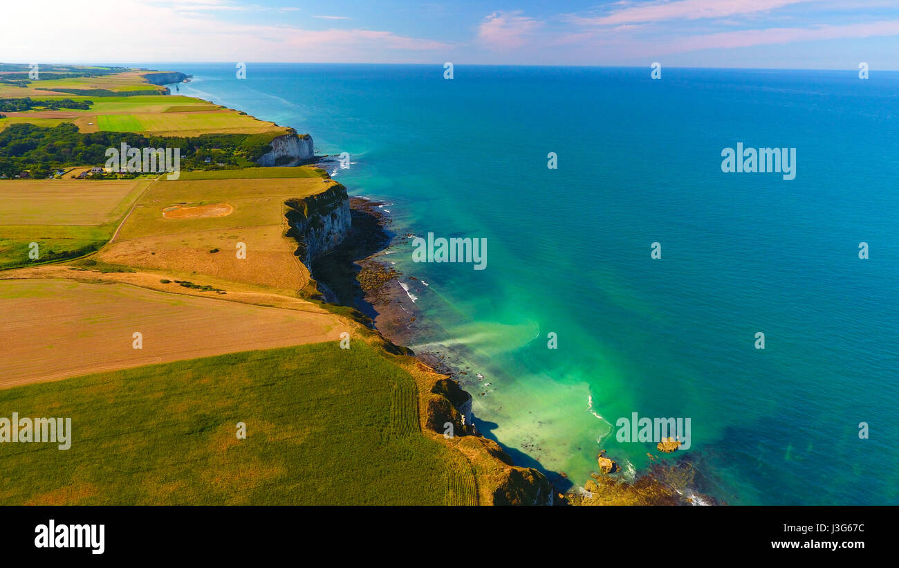 Aerial view of Normandy coast, near Yport, Seine Maritime, France - Stock Image