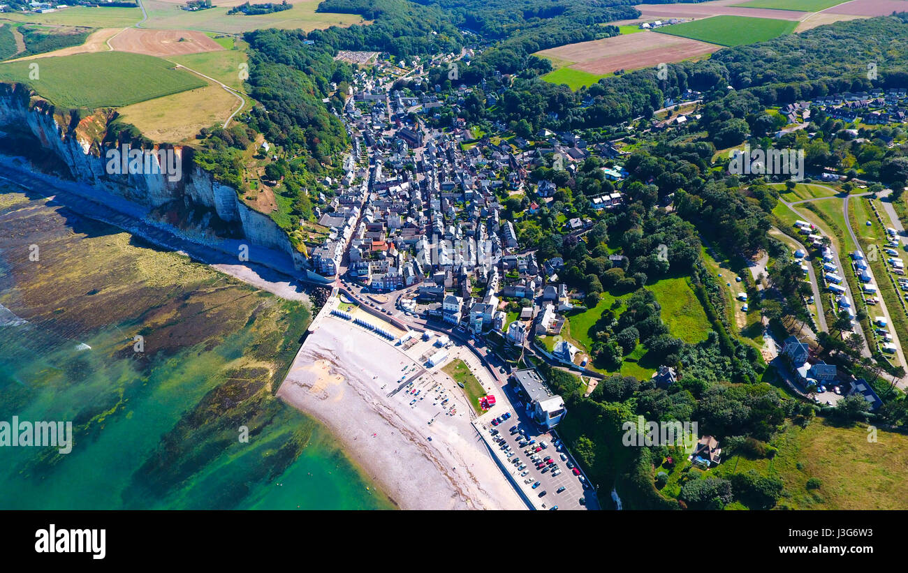 Aerial view of Yport village on the Normandy coast, Seine Maritime, France - Stock Image