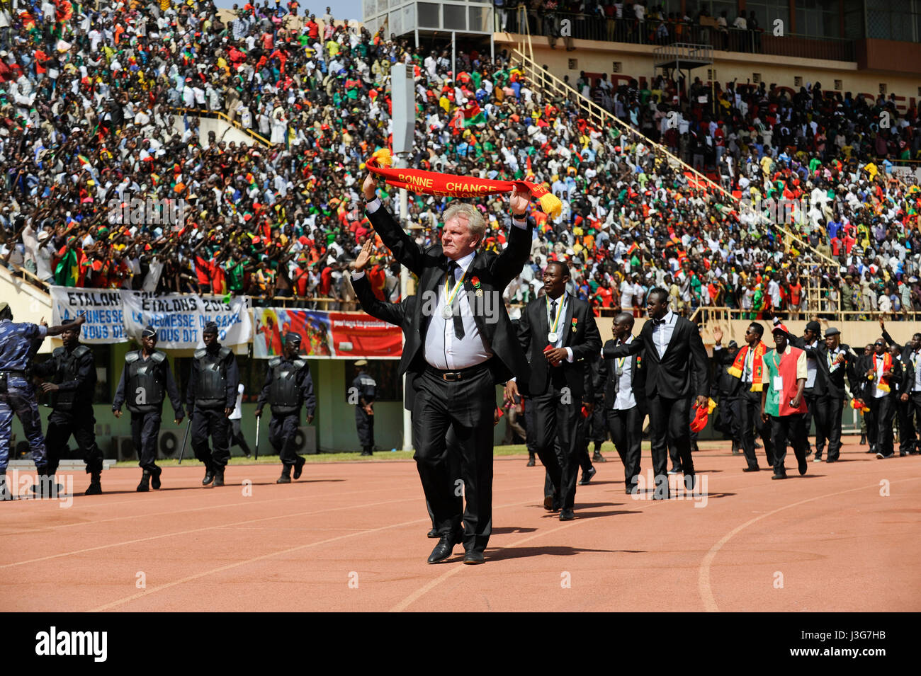 BURKINA FASO, soccer fans during reception of the national football team of Burkina Faso as 2nd placed winner of - Stock Image