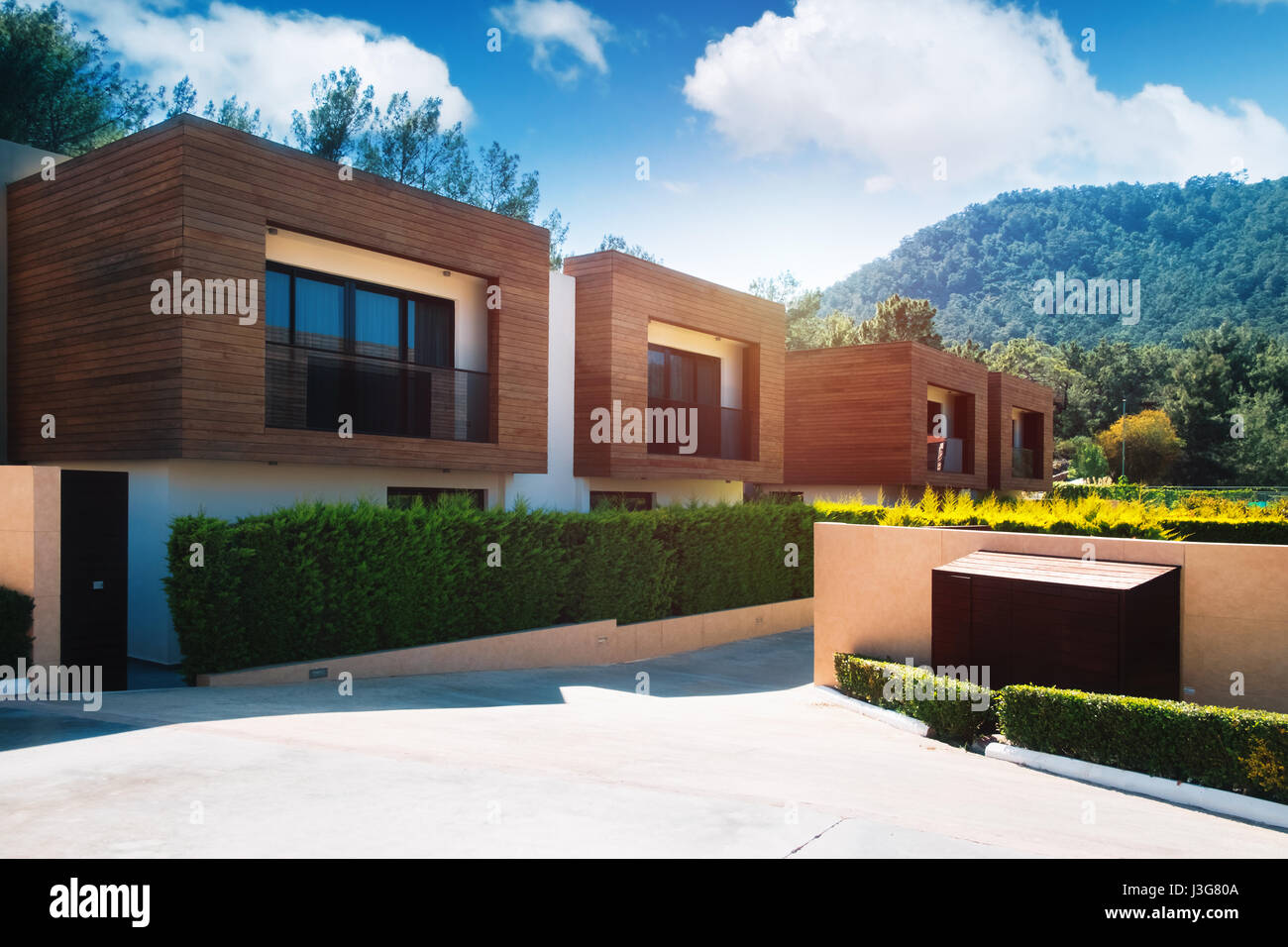 Modern Houses With Green Plant Wall Actual Eco Architecture Stock