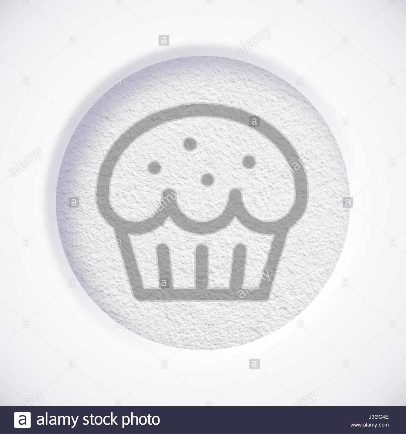 White Cupcake Symbol Icon Concept Stock Photo 139887678 Alamy