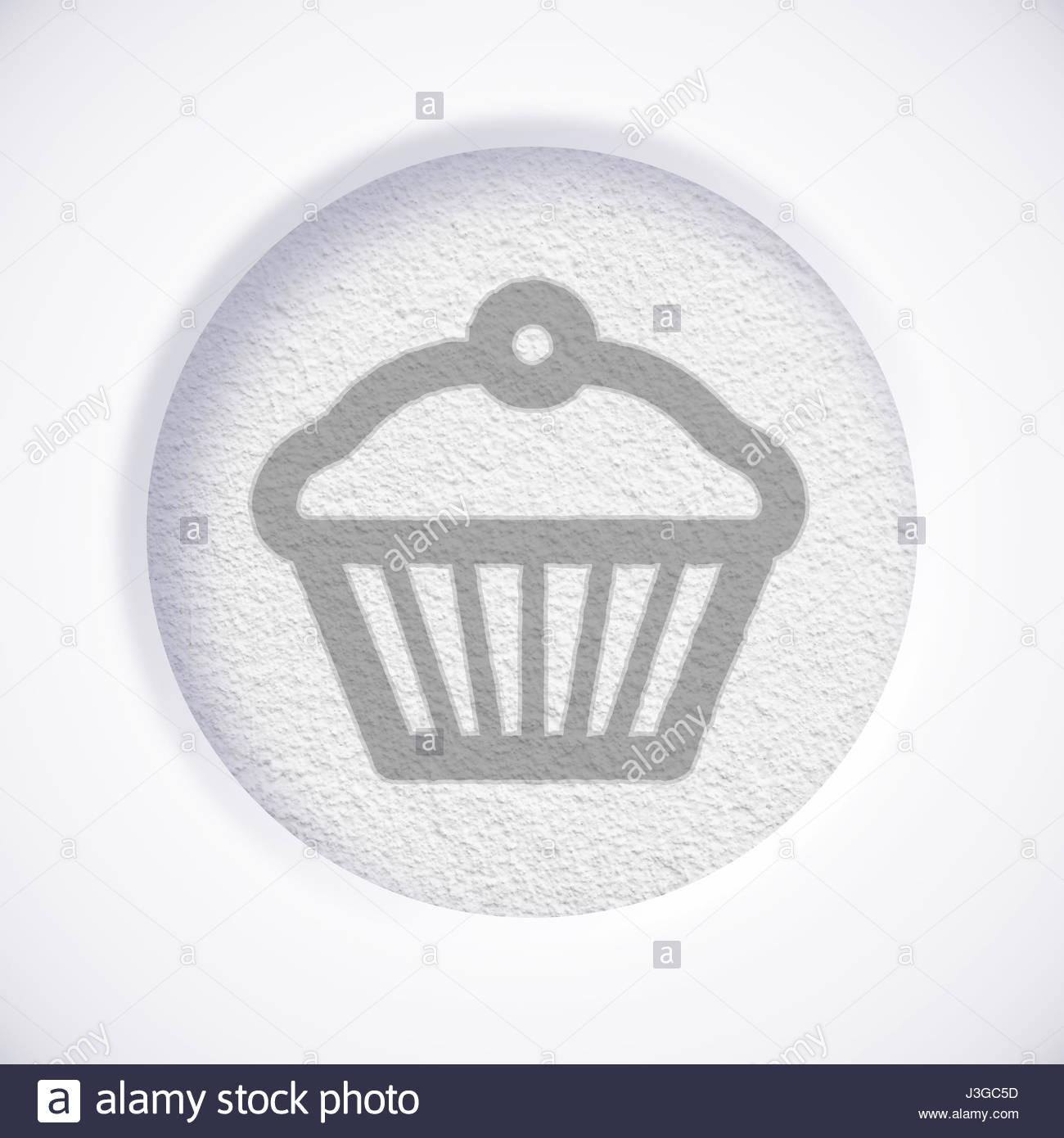 White Muffin Symbol Icon Concept Stock Photos White Muffin Symbol