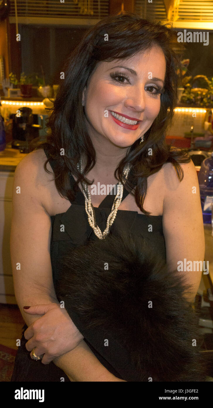 Glamorous woman dressed for an evening event. St Paul Minnesota MN USA - Stock Image