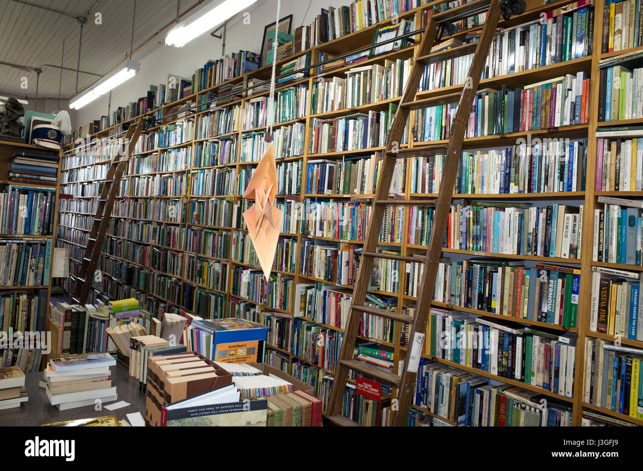 Large inventory of books in the Chequamegon Book & Coffee Company bookstore. Washburn Wisconsin WI USA - Stock Image