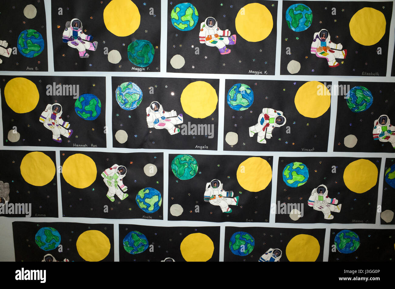 Elementary school children put their photos in outer space suits. St Paul Minnesota MN USA - Stock Image
