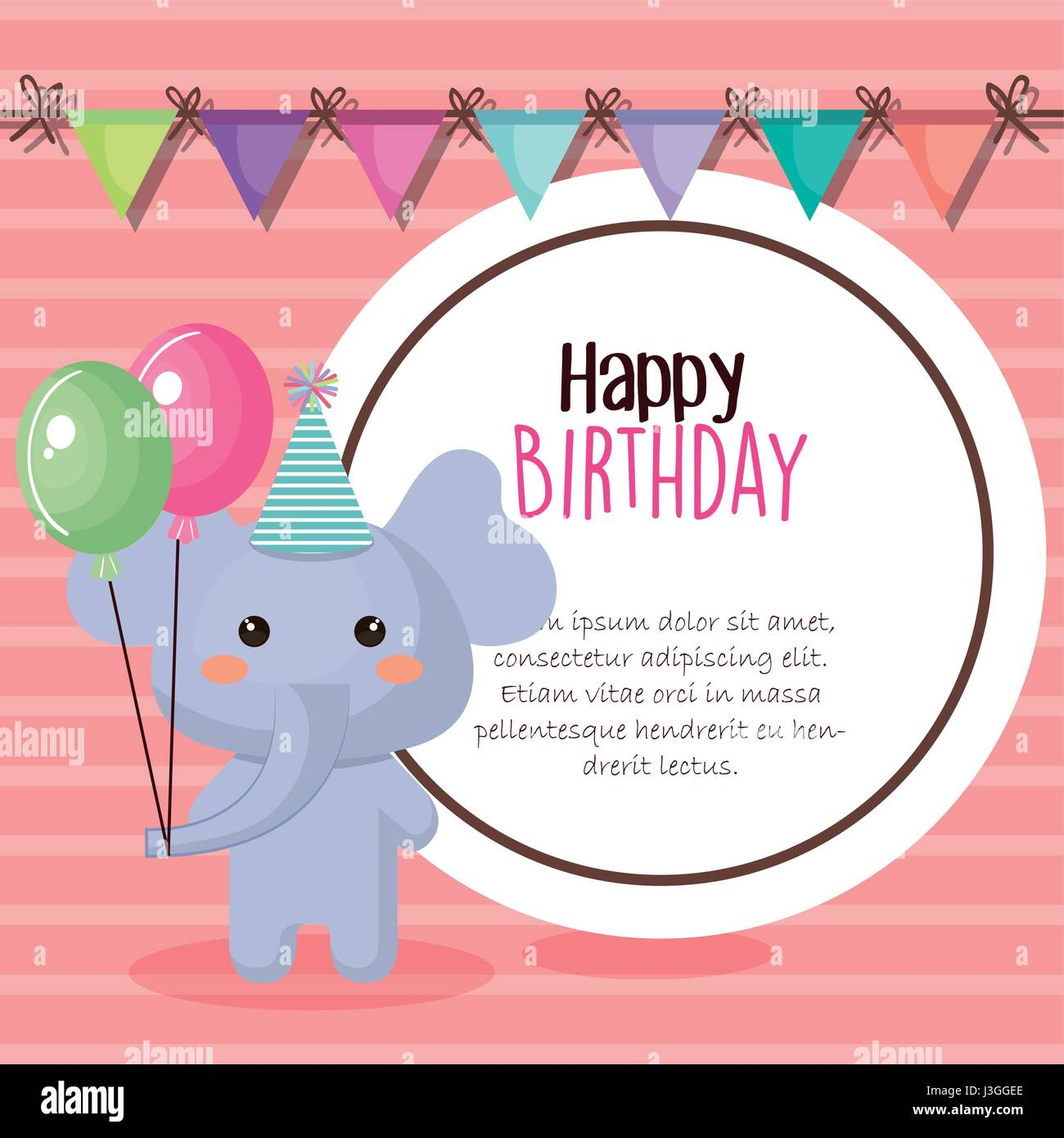 happy birthday card with tender animal - Stock Image