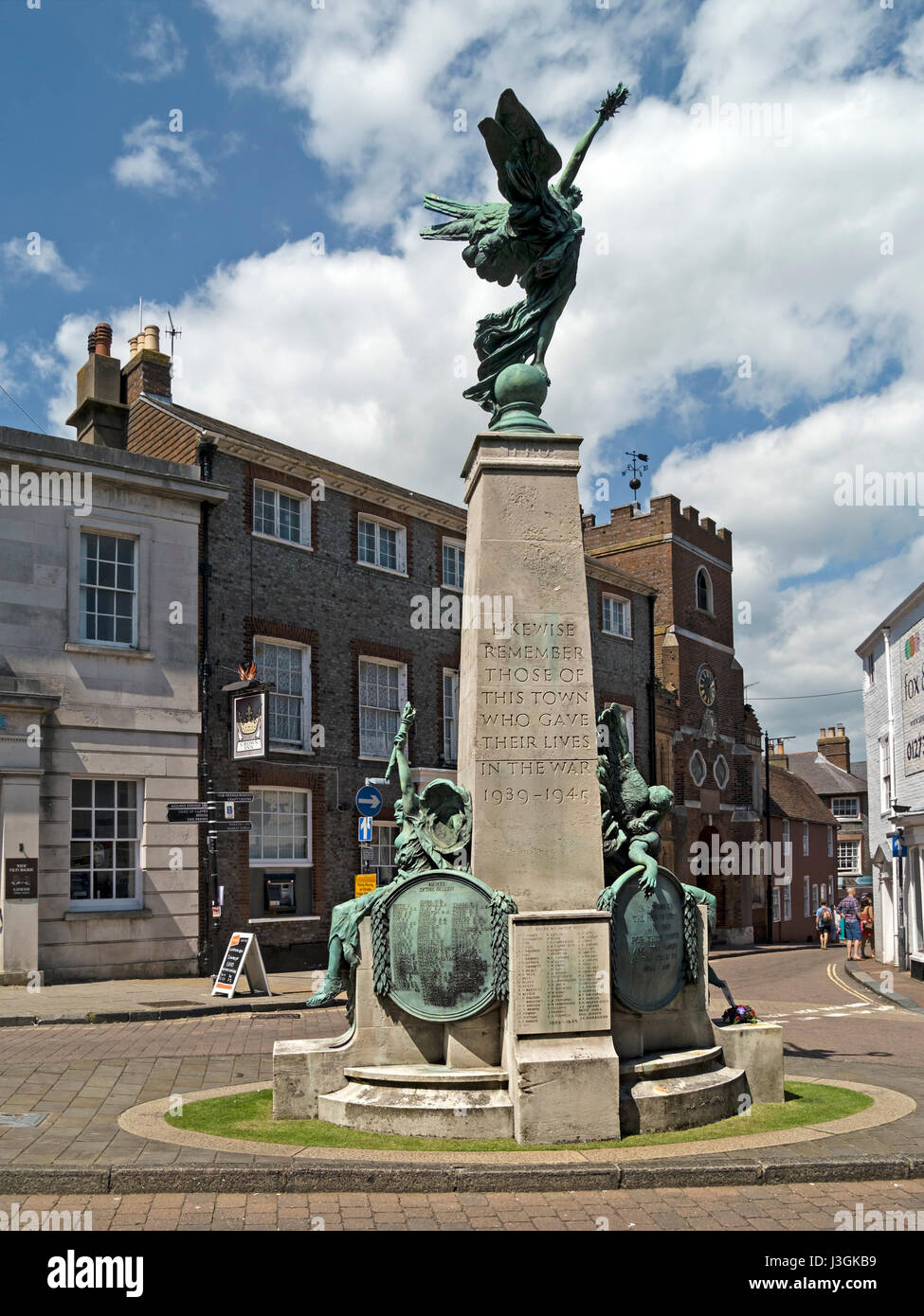 Lewes world war memorial monument by Vernon March, featuring statues of liberty, peace and victory, Lewes, High - Stock Image