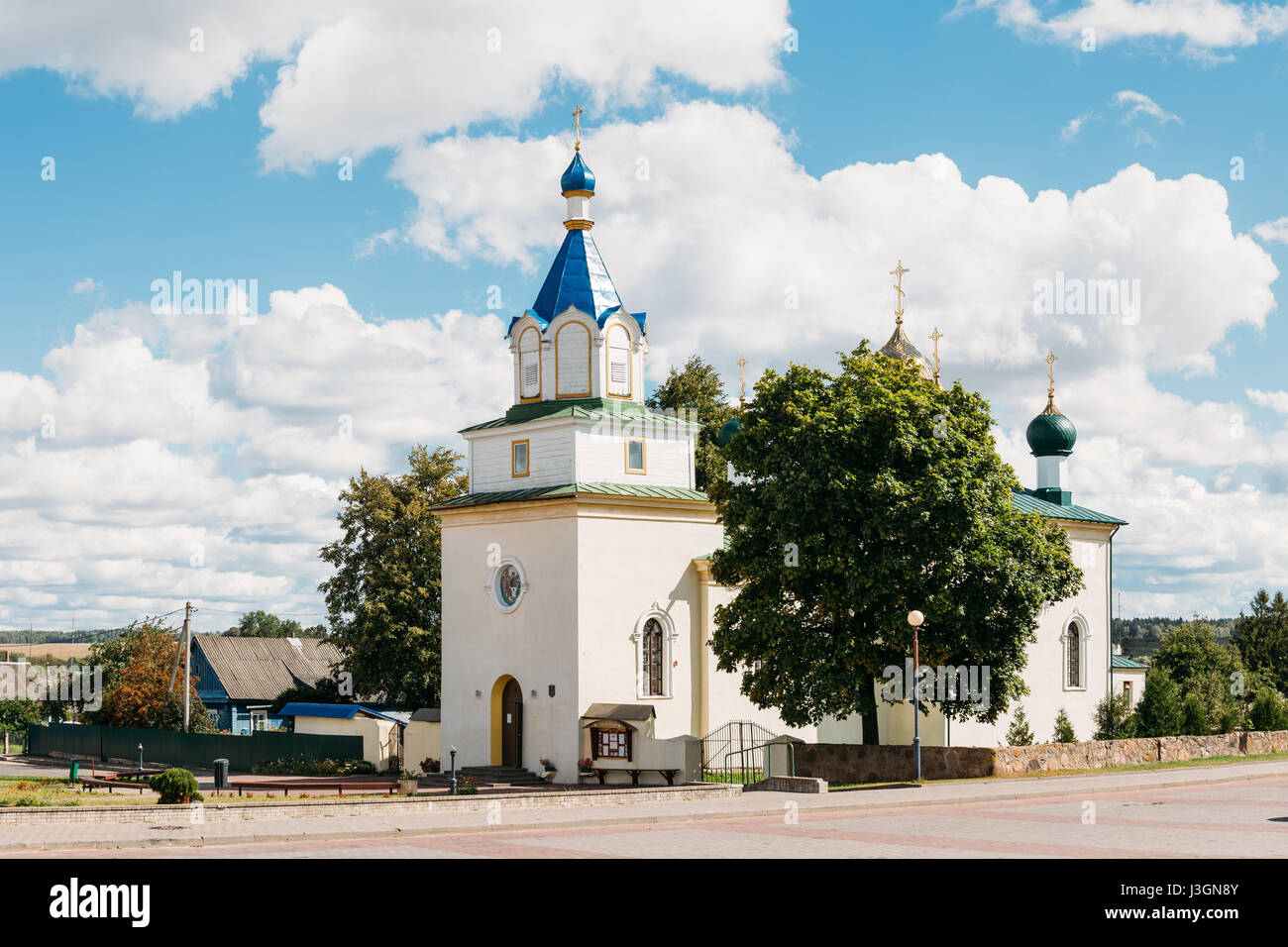 Mir, Belarus. Old Orthodox Church Of The Holy Trinity In Mir, Belarus. Famous Landmark. - Stock Image