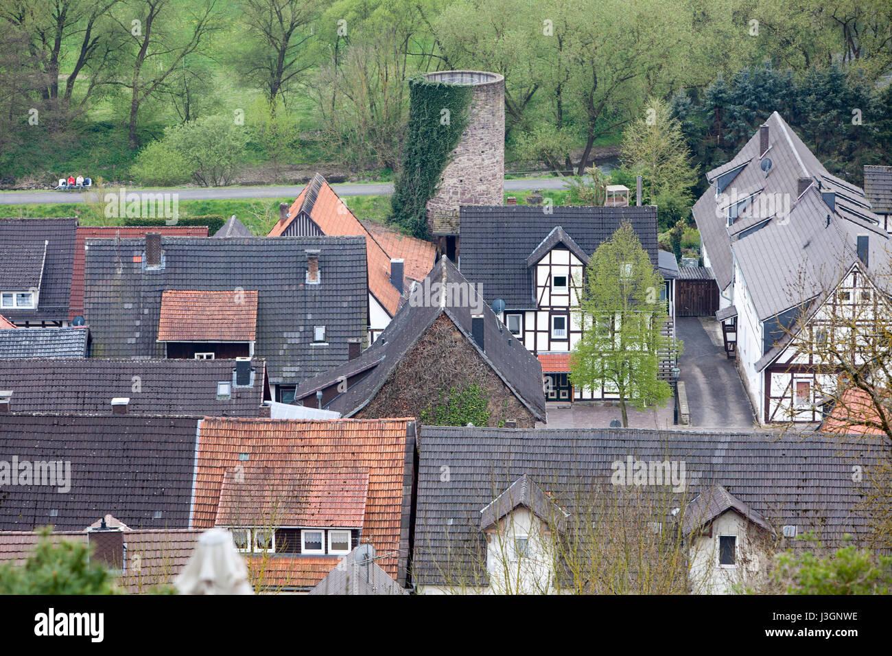 Helmarshausen, Bad Karlshafen, Upper Weser Valley,  Weser Uplands, Weserbergland, Reinhardswald, Hesse, Germany - Stock Image