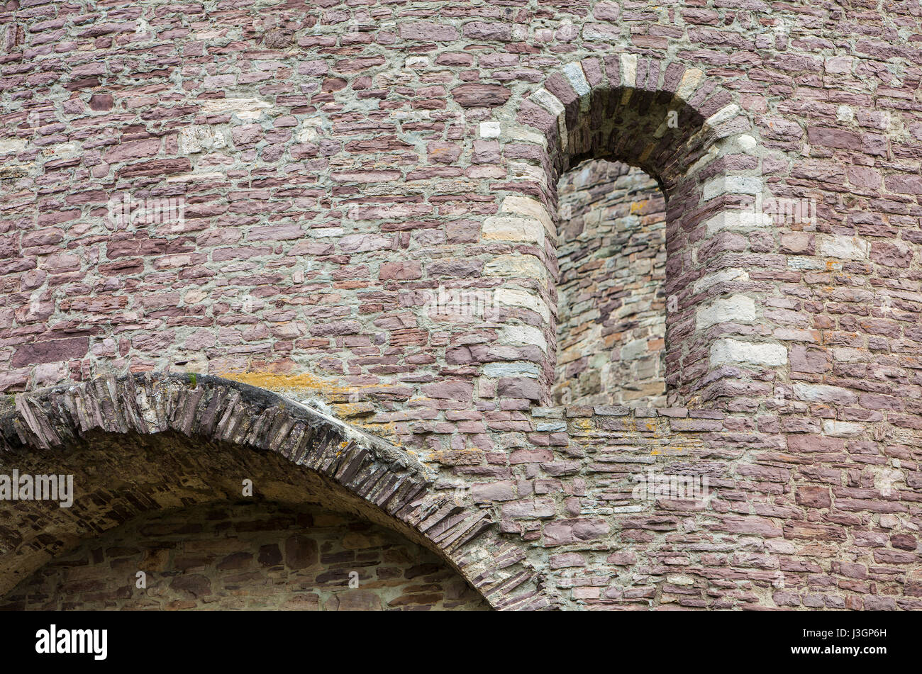 Old walls built with red sandstone from the Weserbergland, Krukenburg Castle, Helmarshausen, Bad Karlshafen, Hesse, - Stock Image