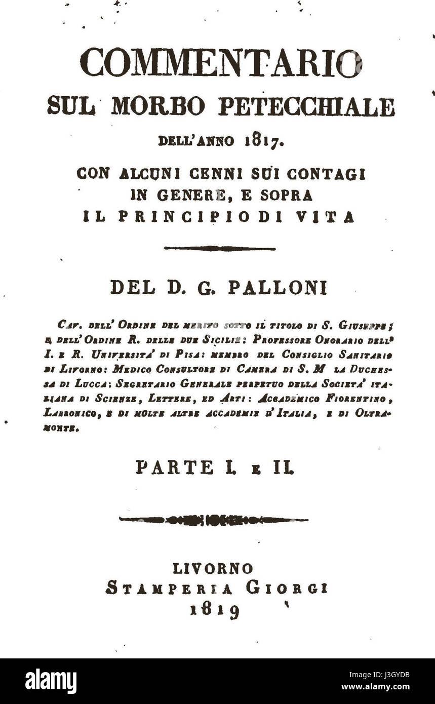 Gaetano Palloni, Commentario sul morbo petecchiale dell' anno 1817, incipit Stock Photo