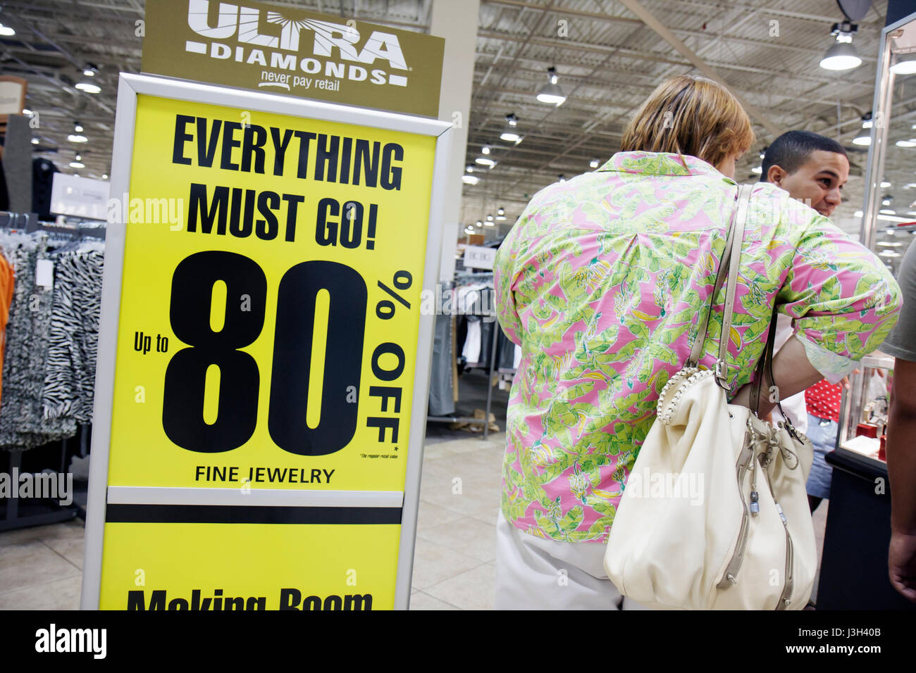 Miami Florida Dolphin Mall Burlington Coat Factory fine jewelry discount sale  woman shopper shopping 80% off everything must go a37d6048e3137