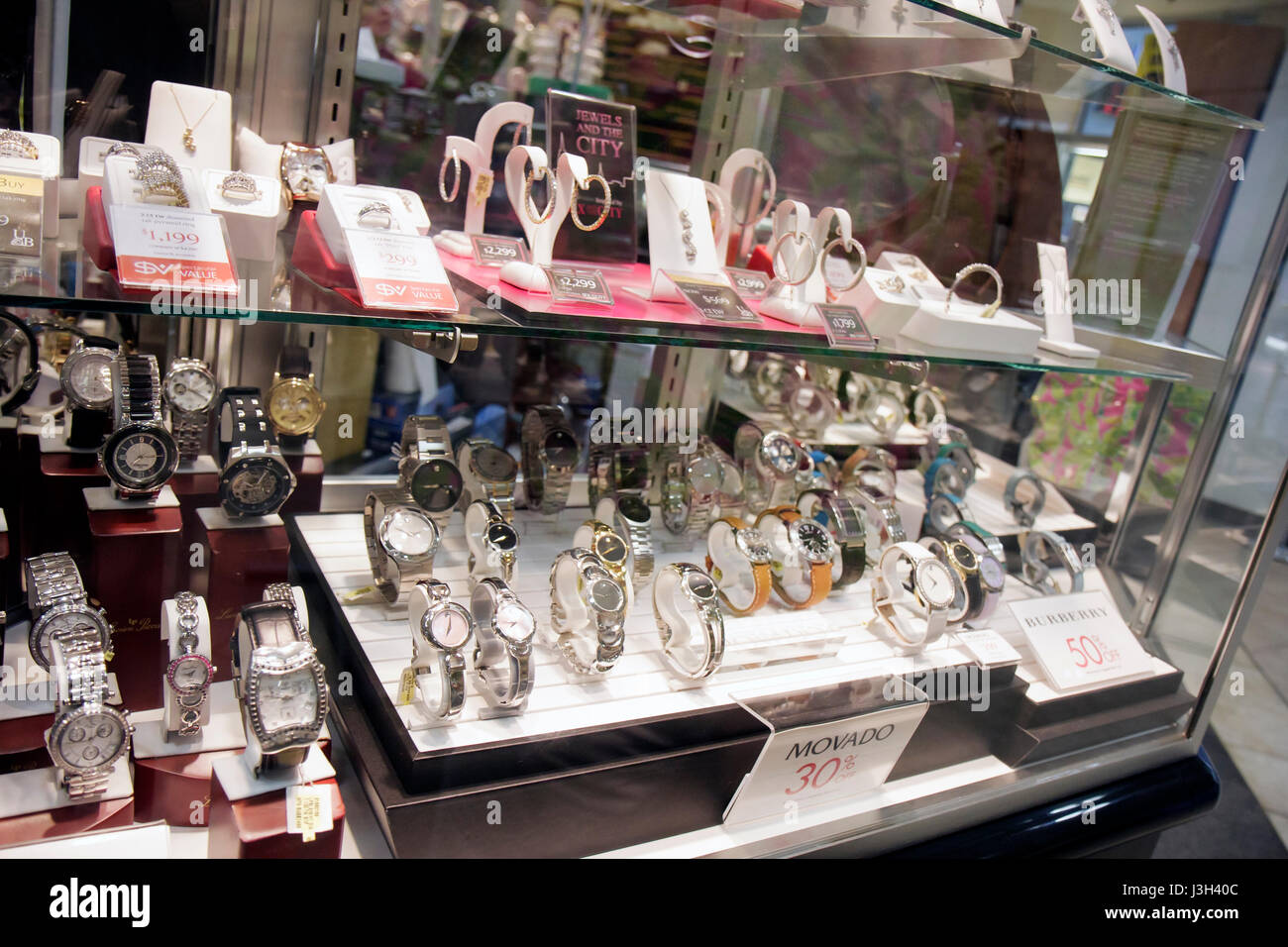 Miami Florida Dolphin Mall Burlington Coat Factory fine jewelry sale  discount watches women s Movado display case shopping a27a3fec48043