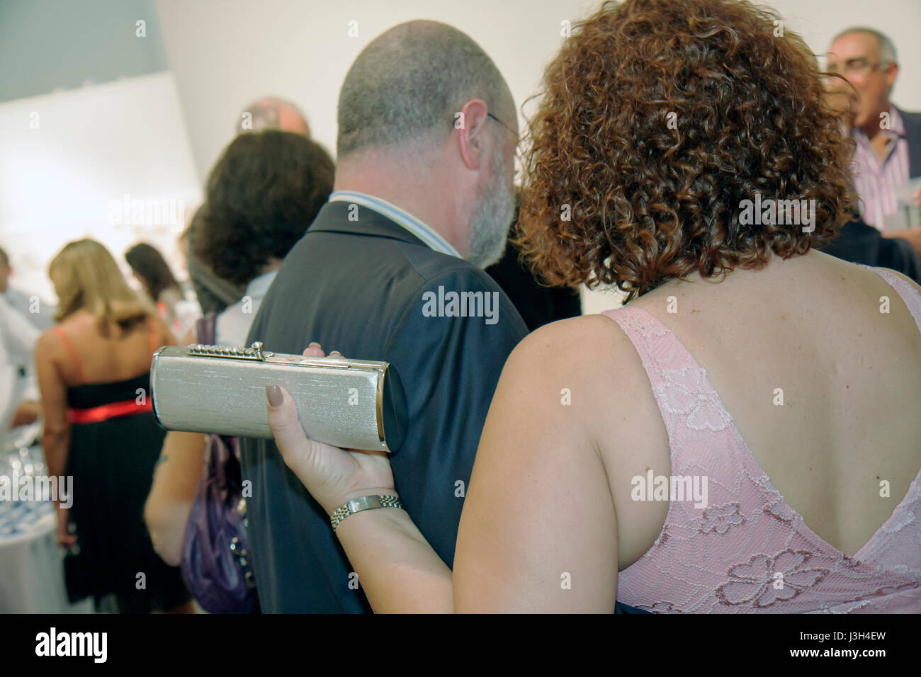 Miami Beach Florida Lincoln Road ArtCenter South Florida art auction reception charity fundraising event woman man Stock Photo