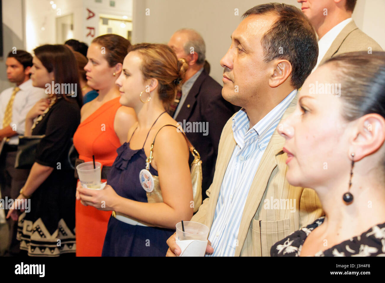 Miami Beach Florida Lincoln Road ArtCenter South Florida art auction reception charity fundraising event woman women Stock Photo