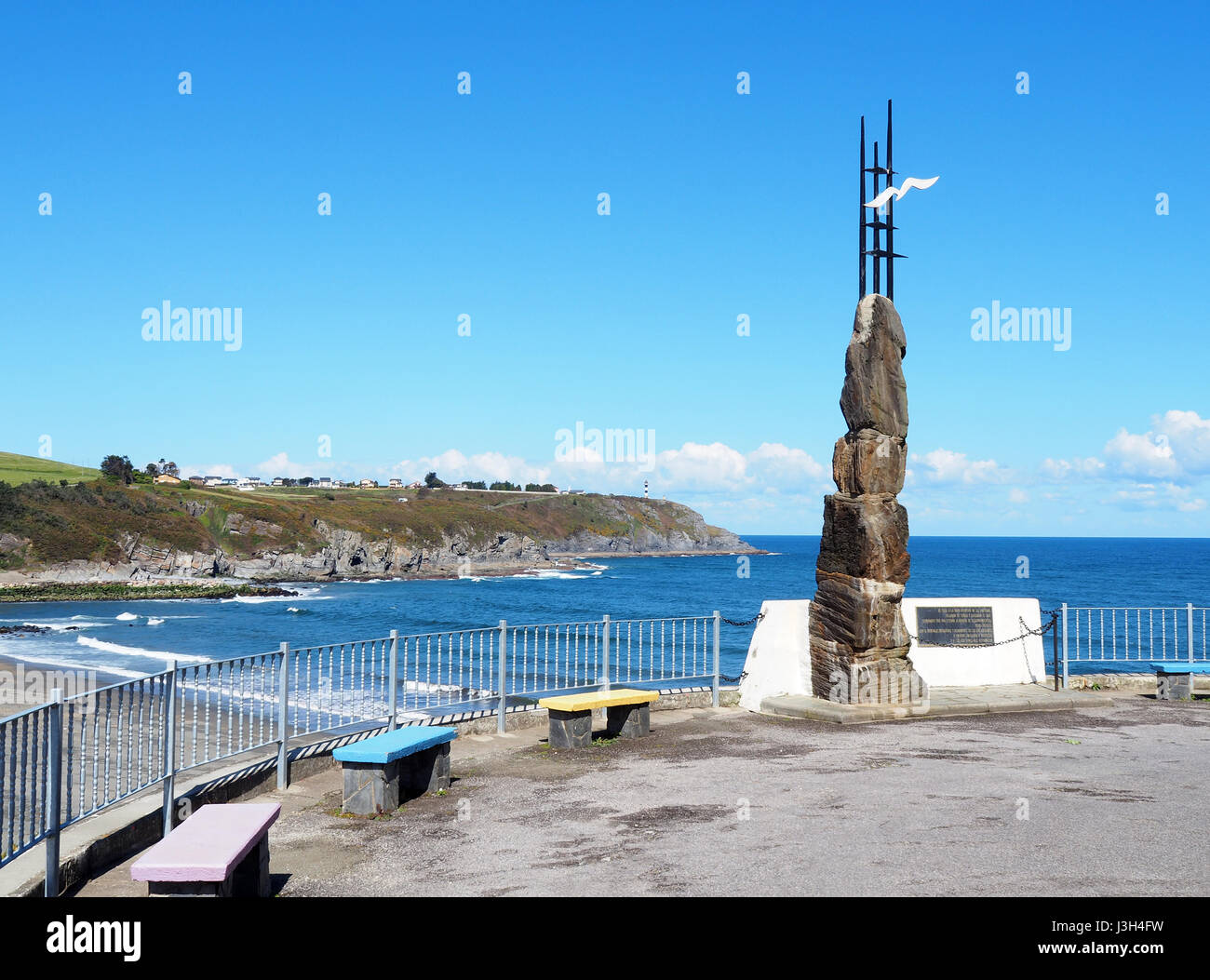Fotos De Navia emigrant monument in navia, spain. it is located in the