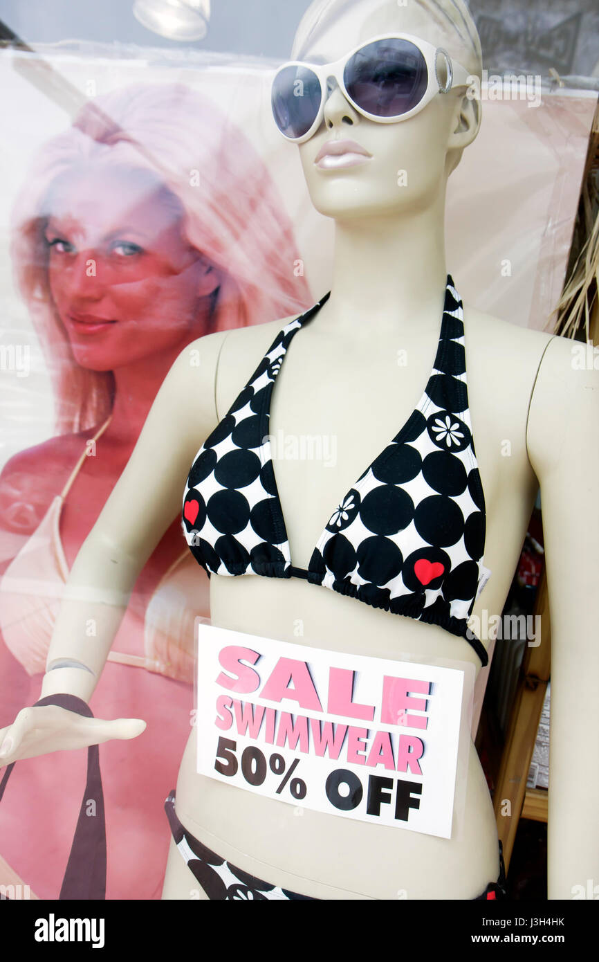 721cc345f6 Miami Beach Florida Washington Avenue store bargain sale swimwear half  price 50% off mannequin store shop window retail clot