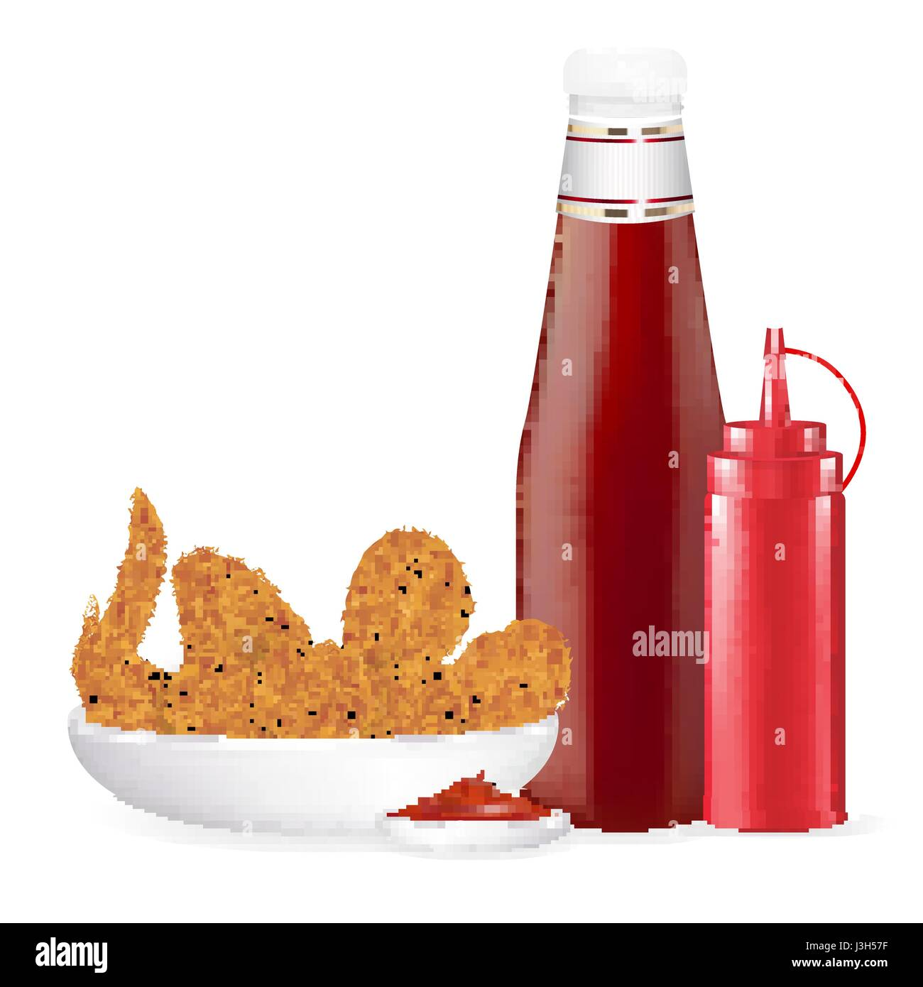 set of fried chicken with sauce bottle vector - Stock Vector
