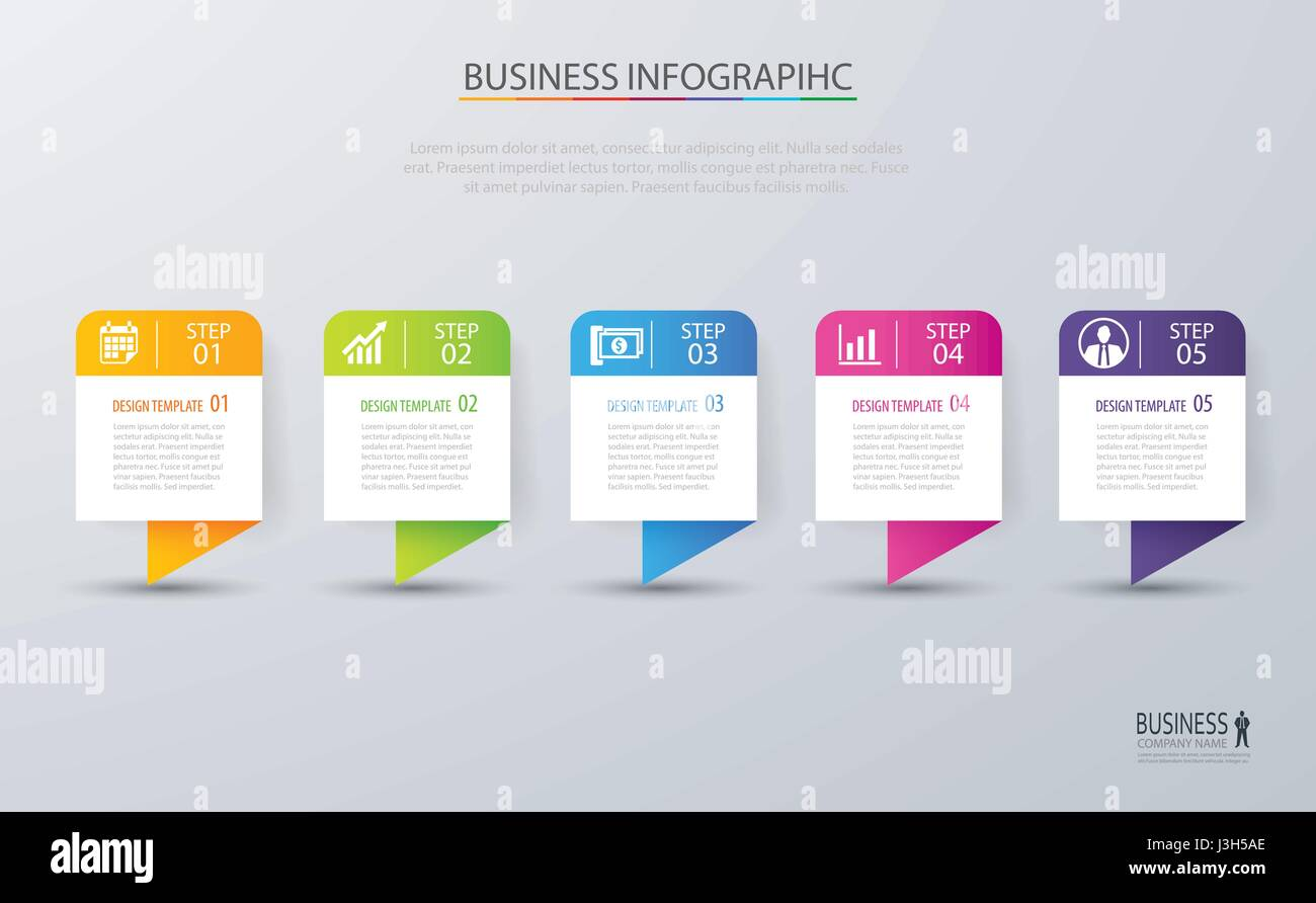 Infographic tab design vector and marketing template business. Can be used for workflow layout, diagram, annual - Stock Image