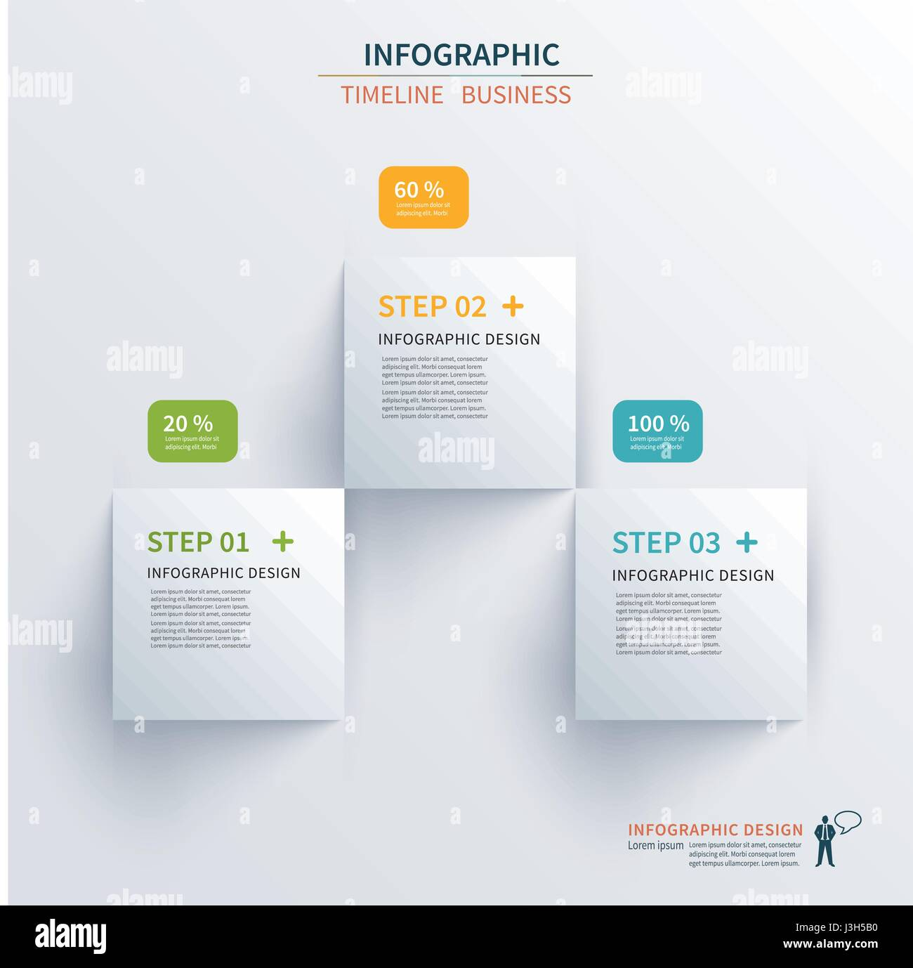 business infographics template 3 steps with square can be used for workflow layout diagram number options web design presentations