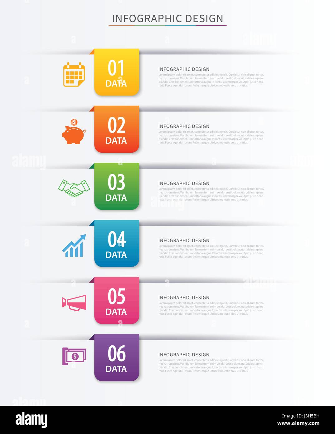 Business index infographics template with 6 data. Can be used for workflow layout, diagram, number options,  web - Stock Image