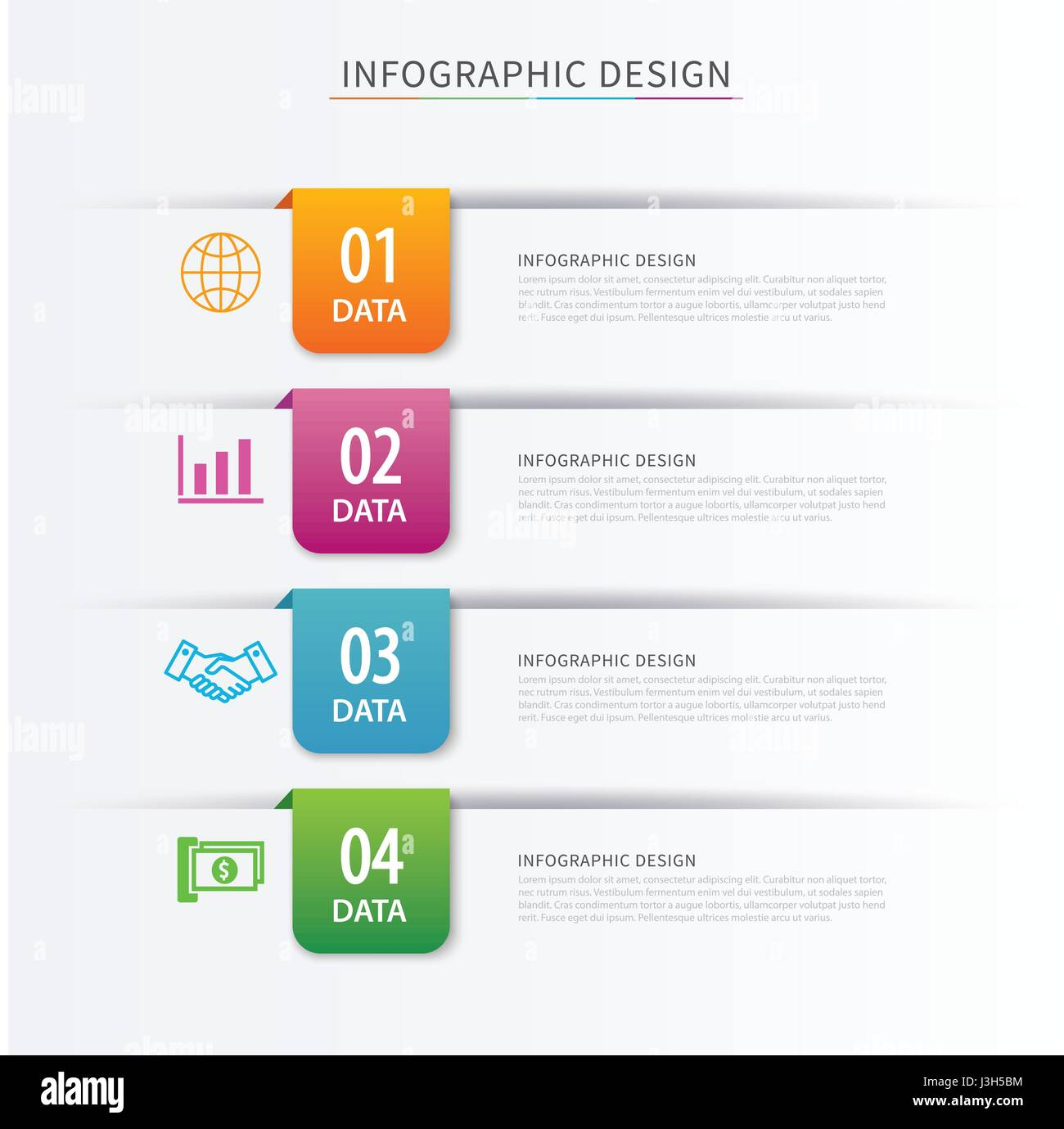 Business index infographics template with 4 data. Can be used for workflow layout, diagram, number options,  web - Stock Image