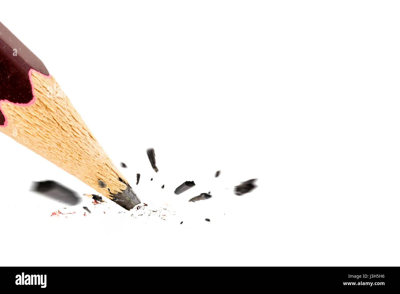 Close up of broken pencil. Mistake or error concept Stock Photo