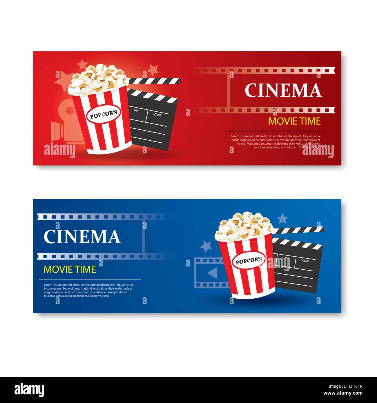 Movie Time Banner And CouponCinema Template Card Element Design